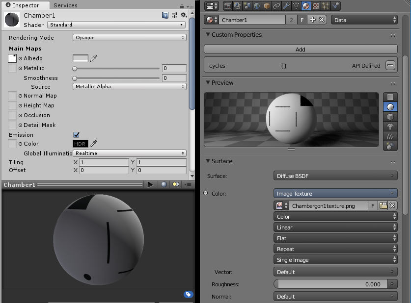 The materials panel in both Unity and Blender, showing the settings, as well as an image of what the material's texture would look like if applied to a sphere